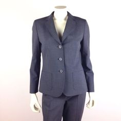 NEW-BROOKS-BROTHERS-Womens-Grey-Gray-Flannel-PANTS-SUIT-Sz-8-Retail-1200-NWOT