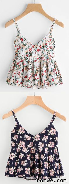 Shop Ditsy print Peplum Cami Top at ROMWE, discover more fashion styles online. Look Fashion, Diy Fashion, Teen Fashion, Fashion Outfits, Womens Fashion, Pretty Outfits, Cute Outfits, Summer Outfits, Casual Outfits