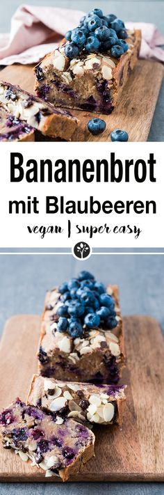 Super saftiges Bananenbrot mit Blaubeeren. Finde das ganze Rezept auf www.eat-vegan.de // #bananabread #baking #vegan #veganrecipe #bananenbrot #blaubeeren Blueberry Banana Bread, Vegan Treats, Vegan Cheescake, No Bake Desserts, Healthy Desserts, Healthy Recipes, Whole Food Recipes, Vegan Baking Recipes, Vegetarian Recipes