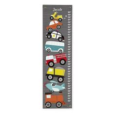 The Land of Nod | Growth Charts: Grey Transportation Growth Chart in Transportation Wall Art