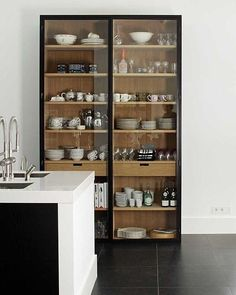 New kitchen furniture cabinets open shelves Ideas Glass Kitchen Cabinet Doors, Glass Front Cabinets, Farmhouse Kitchen Cabinets, Glass Doors, Crockery Cabinet, Upper Cabinets, Small Cabinet, Glass China Cabinet, Kitchen Display Cabinet
