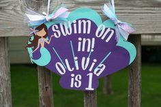 Purple and Aqua Seashell Mermaid Door Sign by AngiesDesignz, $13.00