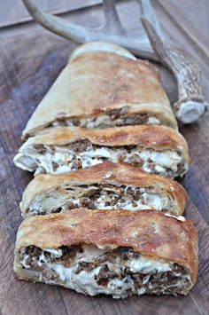 """Stuffed with cheese and deliciously seasoned venison, this sausage bread recipe from """"Crush with Lee & Tiffany"""" will have you drooling. Sausage Recipes For Dinner, Breakfast Recipes, Deer Recipes, Veggie Recipes, Cooking Recipes, Game Recipes, Veggie Food, Cooking Tips, Street Food"""