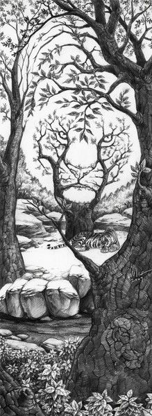 The Sleeping Tiger Optical Illusion The_Sleeping_Tiger_by_willustration – Mighty Optical Illusions. This would make an awesome tattoo! Sleeping Tiger, Illusion Kunst, Wow Art, Art Plastique, Cool Drawings, Pencil Drawings, Drawings Of Tigers, Artwork Drawings, Detailed Drawings