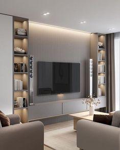 Luxury Bedroom Design, Home Room Design, Modern Tv Room, Modern Living, Minimalist Living, Living Room Partition, Living Room Tv Unit Designs, Tv Wall Design, House Rooms