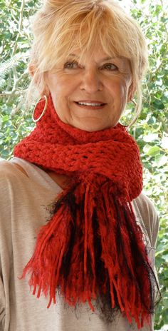 """A beautiful crochet winter scarf in red and black.  The scarf is unique, one of a kind and made by """"An Artist with Yarn""""."""