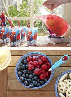 Make a beverage any super hero will love by pureeing fresh berries and adding them to lemonade. Garnish with lemon slices and berries. BAM!—it's that simple.
