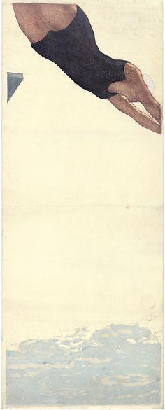 DIVING, Onchi Kōshirō (1891-1955). Kleurenhoutsnede op papier, 1932, P0560. Elise Wessels Collection – Nihon no hanga