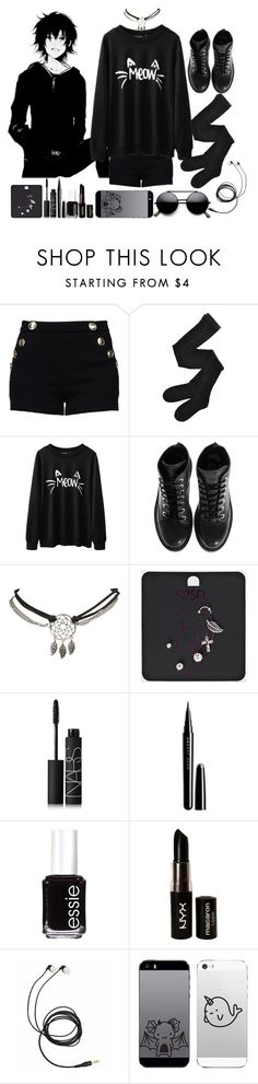 """""""Bez naslova #530"""" by hutcherson-lover-girl ❤ liked on Polyvore featuring Boutique Moschino, Fogal, Kenzo, Wet Seal, NARS Cosmetics, Marc Jacobs, Essie, NYX, black and blackoutfit"""