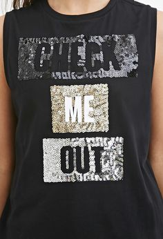Sequin Graphic Muscle Tee - Printed T-Shirts - 2000184824 - Forever 21 UK