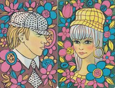 Vintage Swap / Playing Cards - 2 SINGLE- FLOWER POWER LADY & GENT