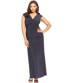 b84da88baf902 Xscape Plus Size Portrait Collar Gown Women - Dresses - Macy s