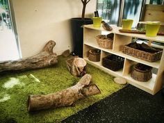 Logs inside! And a rug that looks like grass!!                                                                                                                                                     More