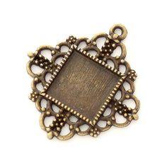 Antikolt bronz színű indás díszes négyzet medál NIKKELMENTES - Medál alapok - Csinálj Ékszert! webáruház