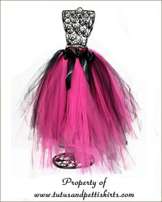 stunning pink and black knotted tutu comes in short and long