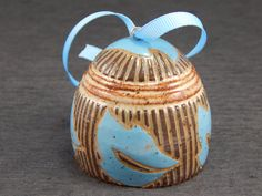 Ceramic ornament, sgraffito pottery, Christmas ornament, wheel thrown bell, leaf decor
