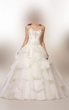 ball gown ruffled skirt strapless sweetheart beaded bodice wedding dress
