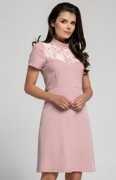 0bf861ba64 Nommo NA306 sukienka pudrowy róż - Sukienki na co dzień - Sukienki - MODA  DAMSKA - Sklep internetowy