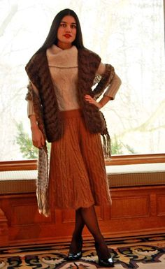 CASHMERE SWEATER with WOOL VEST, SCARF, and MOHAIR-WOOL SKIRT #Unbranded