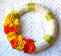 DIY autumn yarn and felt flower wreath by The Homes I Have Made