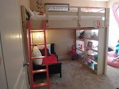 Queen Loft Bed | Do It Yourself Home Projects from Ana White... want to do this!!! maybe ,aunt heather, paint it light turquoise!