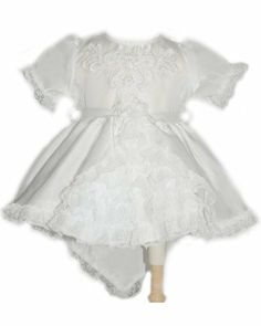 Baby Baptism Dress Crystal Satin Christening Dress with Train and Beads Crystal satin baby dress with train. Train extends approximately 6 - 8 inches below the dress hemline.. Bodice and train have embroidered applique with lace-- pearl beads and sequins.. Dress is lined and has crinolin.Button closure with ribbon tie-back.. Button closure with ribbon tie-back..  #PL #Apparel