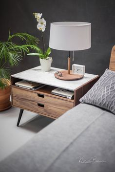 nightstand bedside table with two drawers in solid walnut oak wood board and on top carrara marble