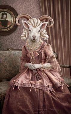 A Portrait of Baroness von Schafen by Ksenos-ks on DeviantArt Animal Heads, Animal Faces, Animal Dress Up, Arte Horror, Whimsical Art, Surreal Art, Pet Clothes, Animal Paintings, Pet Portraits