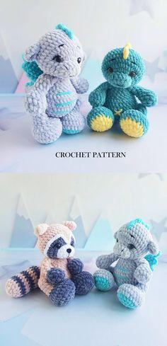 Halloween Crochet Patterns, Easy Crochet Patterns, Crochet Ideas, Baby Blanket Crochet, Crochet Baby, Stuffed Animal Patterns, Dinosaur Stuffed Animal, Crochet Monsters, Cute Toys