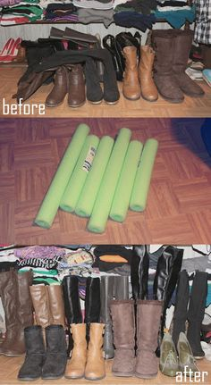 I did this and it works great try a serrated knife to cut the foam tube things& Closet Organization: Cheap DIY Boot Fillers using dollar store floaters Diy Organizer, Closet Organization, Organization Ideas, Closet Bedroom, Master Closet, Diy Bedroom, Bedroom Small, Ideas Para Organizar, Closet Storage