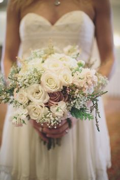 rose + baby's breath bouquet // photo by Ryan Price // flowers by One Stop Party Shop