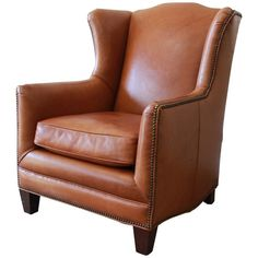 View this item and discover similar for sale at - A very nice vintage studded brown leather wingback lounge chair by Henredon. The chair features gorgeous lightly age-worn brown leather. Leather Wingback Chair, Modern Traditional, White Gloves, Danish Modern, Club Chairs, Home Furniture, Family Room, Accent Chairs, Brown Leather