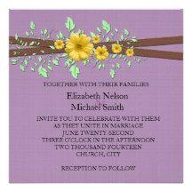 Gerbera Daisy Lavender Damask Wedding Invite