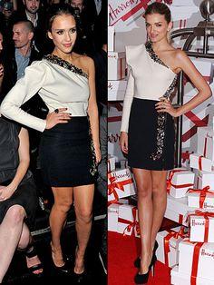 JESSICA VS. LILY    El pasado mes de marzo, Jessica Alba se sentó en primera fila en el desfile de Lanvin durante la Semana de la Moda de París, ataviada en un vestido de la colección de Primavera 2012 de dicha casa francesa. Hace unos días, la modelo británica Lily Donaldson escogió el mismo modelito para ir a un evento en la tienda Harrods de Londres.