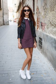 Plaid and leather.