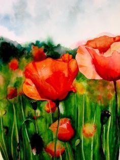 Poppy Trio (1 of 3), watercolor