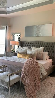 Grey Bedroom Decor, Small Room Bedroom, Room Ideas Bedroom, Master Bedroom Design, Cozy Bedroom, Couple Bedroom, Master Suite, Classy Bedroom Ideas, Master Bedroom Decorating Ideas