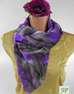 Hand Dyed Silk Scarf, Gray, Purple, Shibori, Abstract, Boho, Unique Handmade Scarves, Wearable art, Scarves Design, Silk Scarf, Idea Gifts by SilkFantazi on Etsy