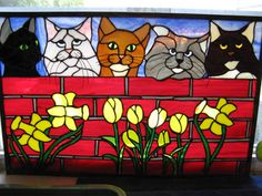 Custom Cat Panel Stained Glass By Trish York: http://www.outbid.com/auctions/19299-night-owl-s-marketplace-6-02-13#8