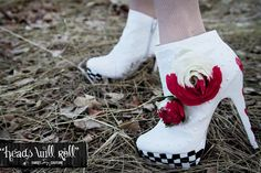Heads Will Roll White Hand Painted Bootie by SweetSinCouture. $45.00, via Etsy.