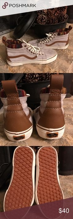 Vans Hightop Sneakers Worn only once .... note minimal scuff marks on front sole. Great condition.... So cute laced up or down. Vans Shoes Sneakers