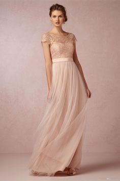 2015 Lace Sheer Scoop Neck Bridesmaid Dresses with Illusion Sleeve Backless Tulle Ribbon Long Maid of Honor Beach Wedding Gowns Cheap Blush