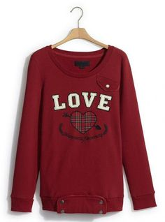Red Love Heart Neck Sweatshirt$51.00