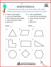 Geometry Riddles 3A, 3rd grade geometry riddles