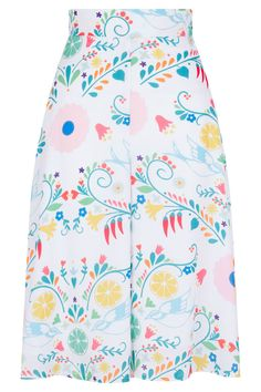 Tara Starlet Culottes Huerta wide leg high waist vintage spring WHITE FLORAL in Clothes, Shoes & Accessories, Women's Clothing, Trousers | eBay