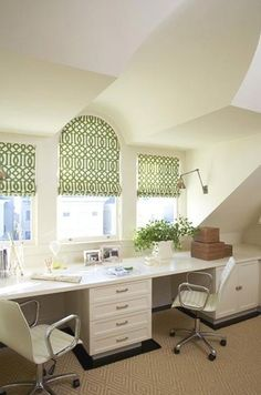Home Office Space with Custom Green & White Window Shades ~ FABULOUS!