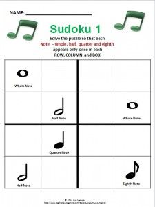 Sudoku for young musicians. Fun and educational  $