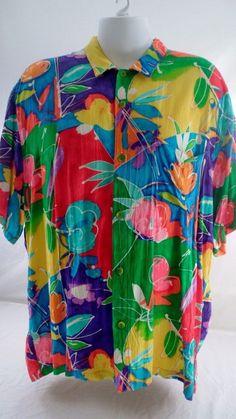 Vintage Jams World Hawaiian Hawaiian Shirt Wax Flower Tropical Hibiscus Size XXL #JamsWorld #Hawaiian