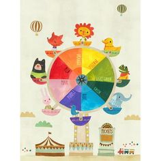 "GreenBox Art 'Color Ferris Wheel' by Irene Chan Graphic Art on Canvas Size: 18"" H x 14"" W"