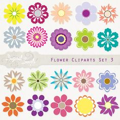 Flower Cliparts Set 3  Digital Clipart for card by DigitalSwirls, $4.00